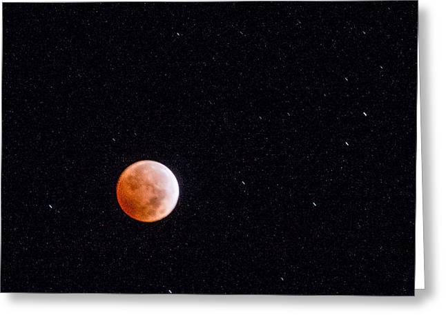 On His Holidays Greeting Cards - Pretty Face on a Blood Moon Greeting Card by Carolina Liechtenstein