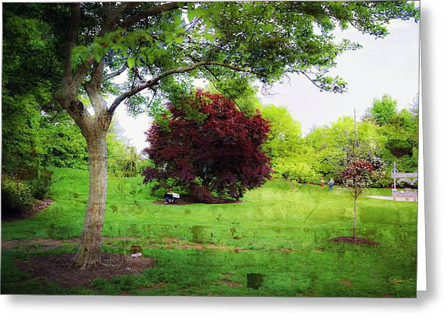 Wooden Sculpture Greeting Cards - Pretty Garden 2 Greeting Card by Madeline Ellis