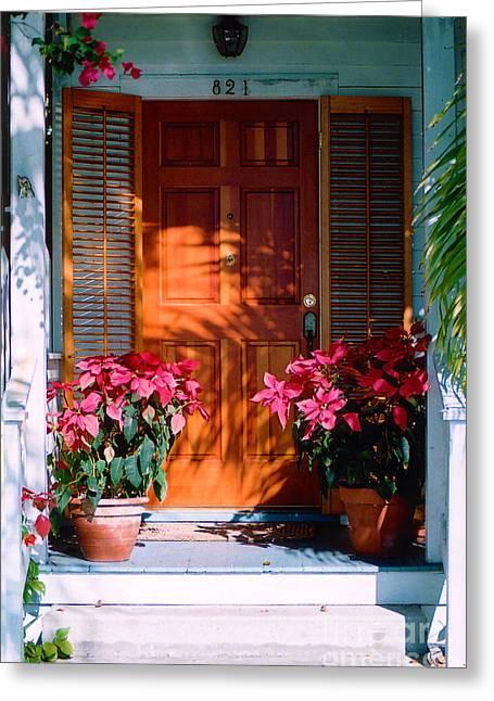 Florida Flowers Greeting Cards - Pretty House Door in Key West Greeting Card by Susanne Van Hulst