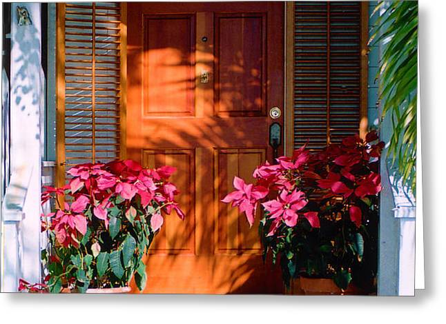 Pretty House Door in Key West Greeting Card by Susanne Van Hulst