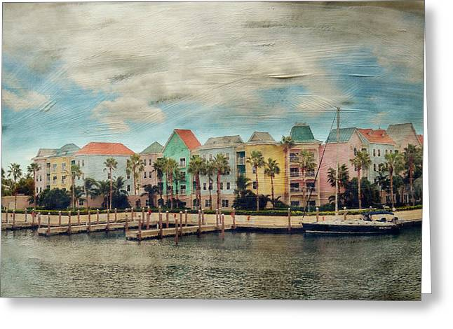 Nassau Greeting Cards - Pretty Houses All In A Row Nassau Greeting Card by Kathy Jennings