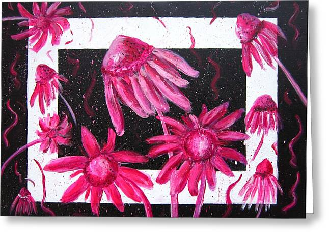 Abstracted Coneflowers Paintings Greeting Cards - Pretty In Pink 2 Greeting Card by Marita McVeigh