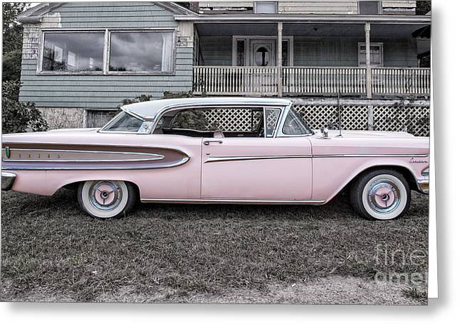 Run Down Greeting Cards - Pretty in Pink Ford Edsel Greeting Card by Edward Fielding