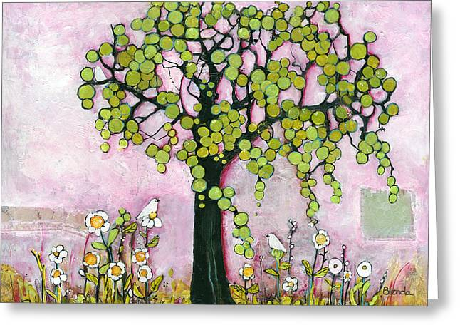 Treescape Greeting Cards - Pretty in Pink Paradise Tree Greeting Card by Blenda Studio