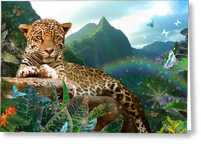 Pretty Jaguar Greeting Card by Alixandra Mullins