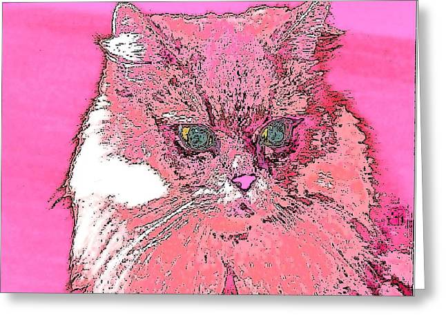 Pretty Kitty In Pink Greeting Card by Kathy Budd