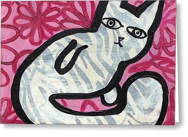Chihuahua Artwork Greeting Cards - Pretty Kitty Greeting Card by Jen Kelly Hirai
