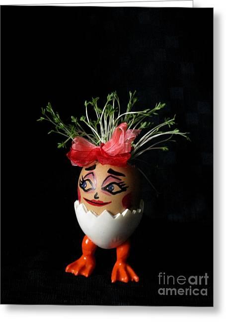 Eggheads Greeting Cards - Pretty Lady Easter Eggmen Series  Greeting Card by Ausra Paulauskaite
