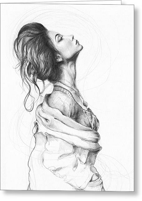 Black And White Drawing Greeting Cards - Pretty Lady Greeting Card by Olga Shvartsur
