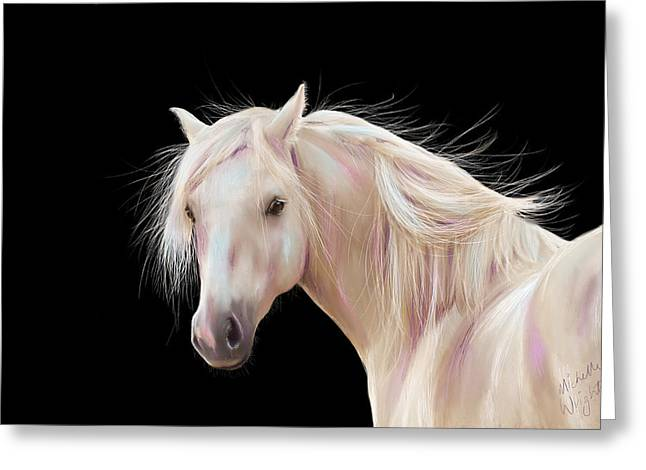 Pet Portrait Artist Greeting Cards - Pretty Palomino Pony Painting Greeting Card by Michelle Wrighton