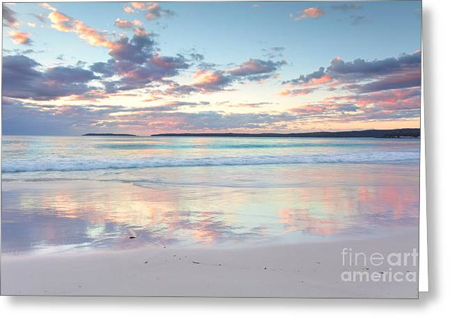 Wellbeing Pyrography Greeting Cards - Pretty pastel dawn sunrise at Hyams Beach NSW Australia Greeting Card by Leah-Anne Thompson