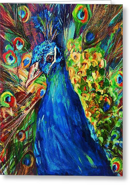 Portaits Mixed Media Greeting Cards - Pretty Peacock Greeting Card by Sherri Trout