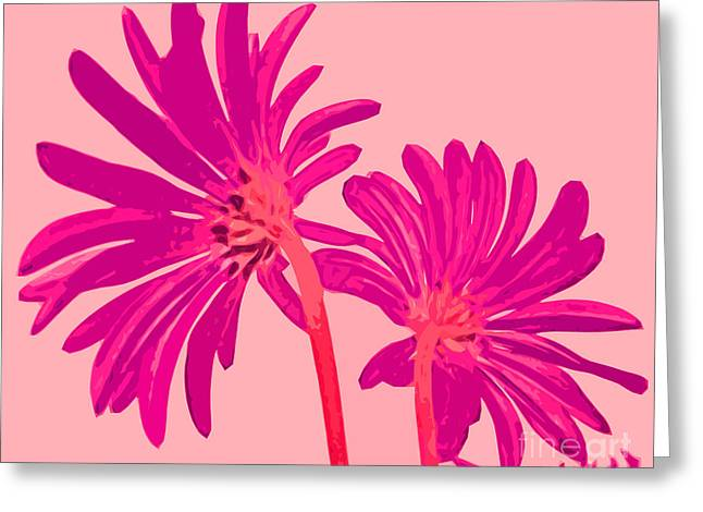 Color Enhanced Mixed Media Greeting Cards - Pretty Pink Flowers From Behind Greeting Card by Adri Turner