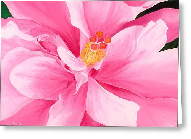 Pretty Pink Hibiscus Painting Greeting Card by Lisa Bentley