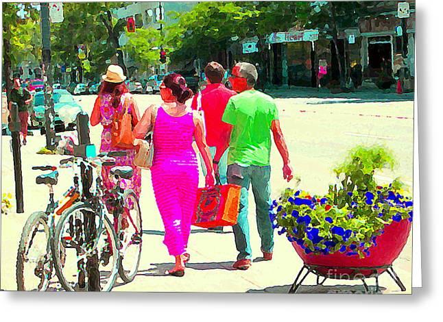 Street Scenes Greeting Cards - Pretty Pink Summer Dress Sunny Stroll Licari St Denis Scene Montreal Bike Racks And Flowers Cspandau Greeting Card by Carole Spandau