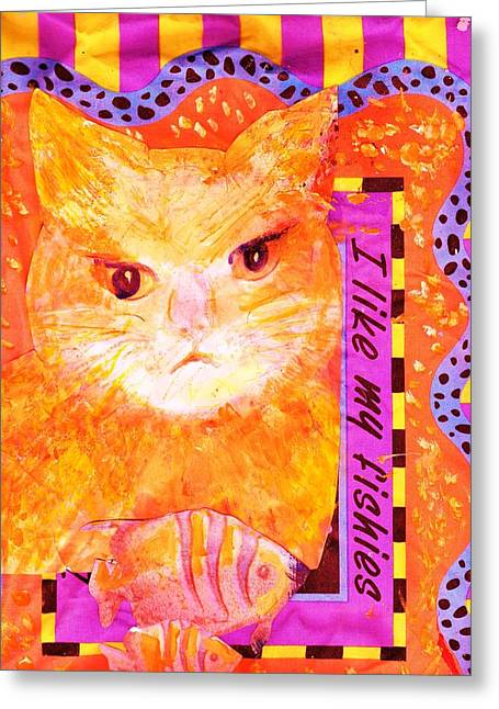Decorative Fish Greeting Cards - Pretty Pussy Cat who Loves Fishes Greeting Card by Anne-Elizabeth Whiteway