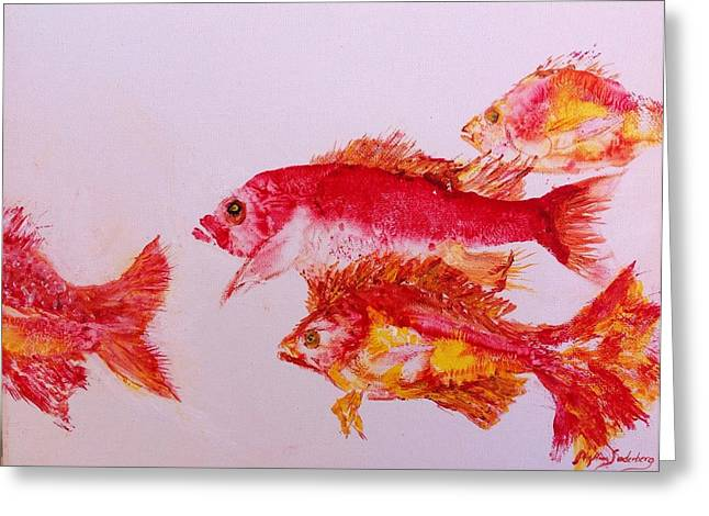 Fish Rubbing Greeting Cards - Pretty Snapper Family Greeting Card by Phyllis Soderberg