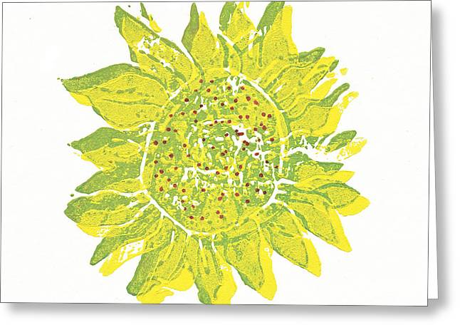 Recently Sold -  - Lino Reliefs Greeting Cards - Pretty Sunflower  Greeting Card by Lynn-Marie Gildersleeve