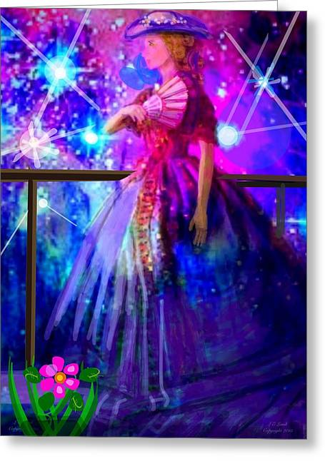 Woman In A Dress Greeting Cards - Pretty Things Greeting Card by Larry Lamb
