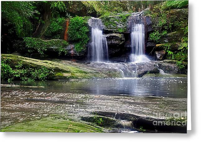 Moss Green Greeting Cards - Pretty Waterfalls in Rainforest Greeting Card by Kaye Menner