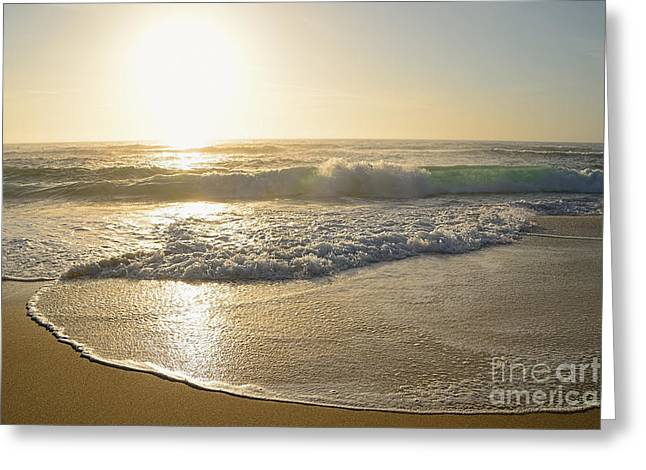Sand Pattern Greeting Cards - Pretty Waves at Glowing Sunrise by Kaye Menner Greeting Card by Kaye Menner