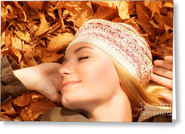Lay Lady Lay Greeting Cards - Pretty woman sleeping on fall foliage Greeting Card by Anna Omelchenko