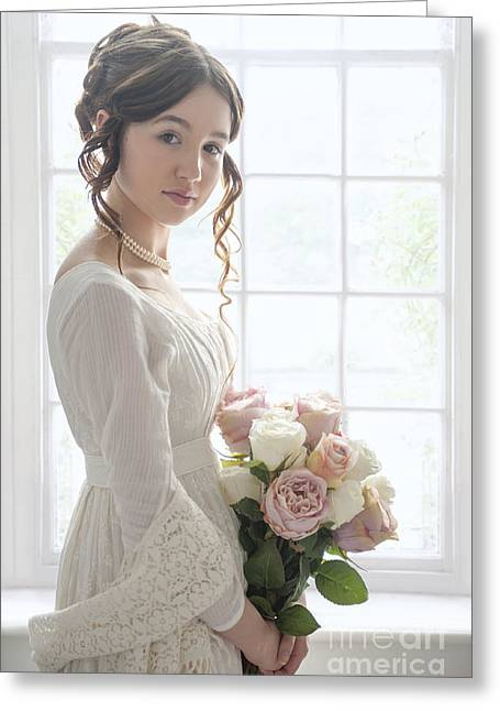 Long Sleeved Dress Greeting Cards - Pretty Young Woman In Regency Empire Line Dress With Roses By Th Greeting Card by Lee Avison