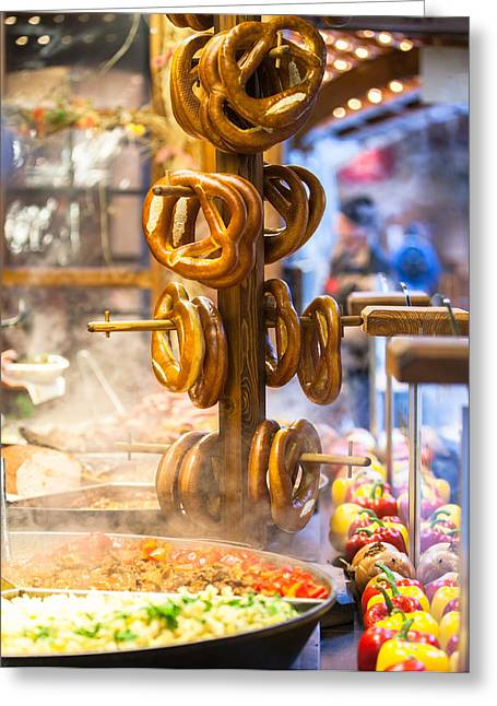 Pretzels And Food At German Christmas Market Greeting Card by Susan  Schmitz