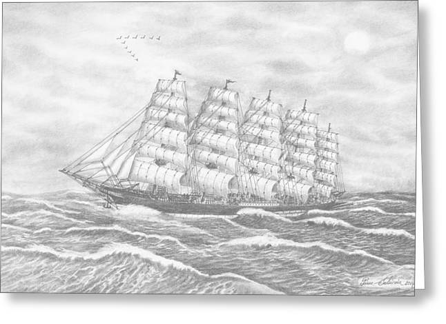 Tall Ships Drawings Greeting Cards - Preussen-Ship Greeting Card by Pierre Salsiccia