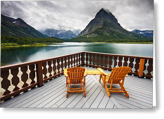 Many Glacier Greeting Cards - Priceless Glacier View Greeting Card by Mark Kiver