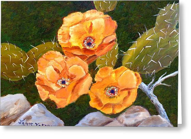 Prickley Pear Cactus Greeting Card by Janis  Tafoya