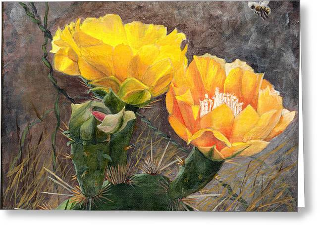 Botanical Greeting Cards - Prickly Pear Flower Twins Greeting Card by Sue Sill
