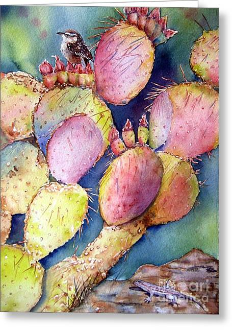 Pear Art Greeting Cards - Prickly Perch Greeting Card by Patricia Pushaw