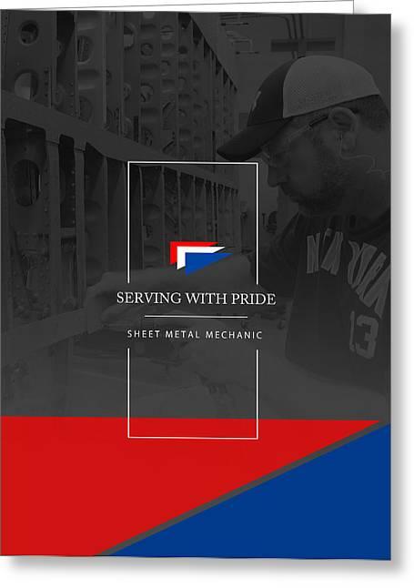 Metal Sheet Greeting Cards - Pride --- SHEET METAL MECHANIC 1 Greeting Card by Reggie Saunders