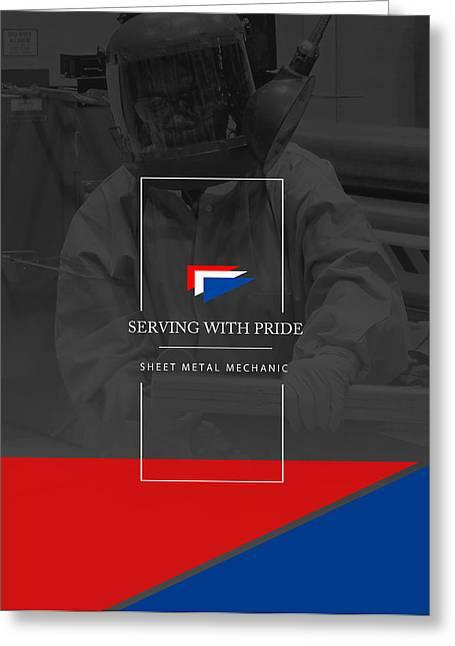 Metal Sheet Greeting Cards - Pride --- SHEET METAL MECHANIC 2 Greeting Card by Reggie Saunders