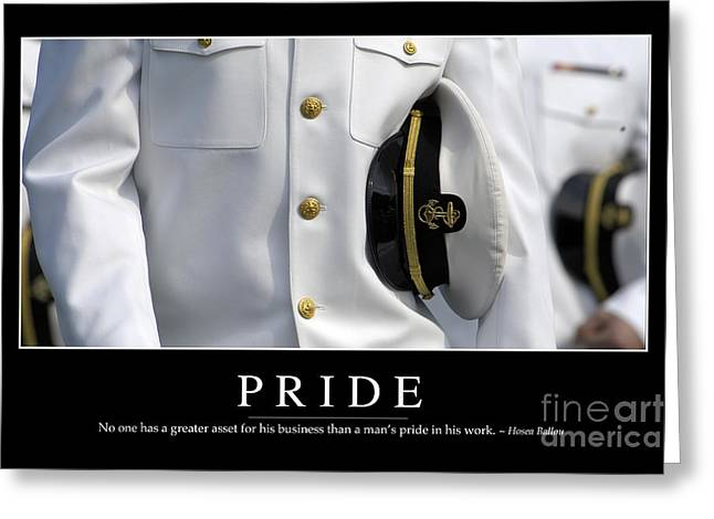 Navy Dress Greeting Cards - Pride Inspirational Quote Greeting Card by Stocktrek Images