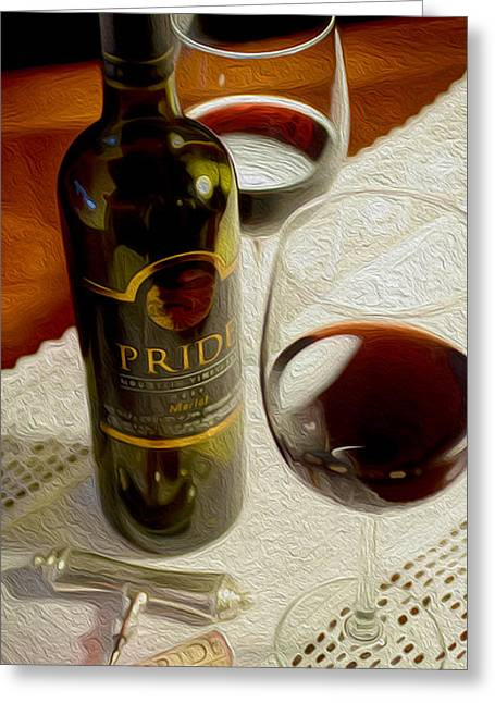 Red Wine Bottle Mixed Media Greeting Cards - Pride Greeting Card by Jon Neidert