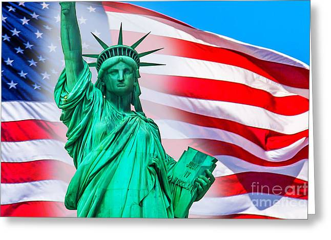 Statue Of Liberty Greeting Cards - Pride Of America Greeting Card by Az Jackson
