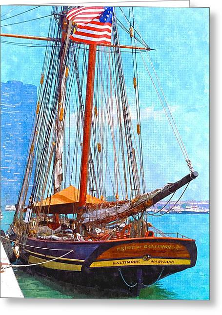 Tall Ships Mixed Media Greeting Cards - Pride of Baltimore Greeting Card by Chas Burnam