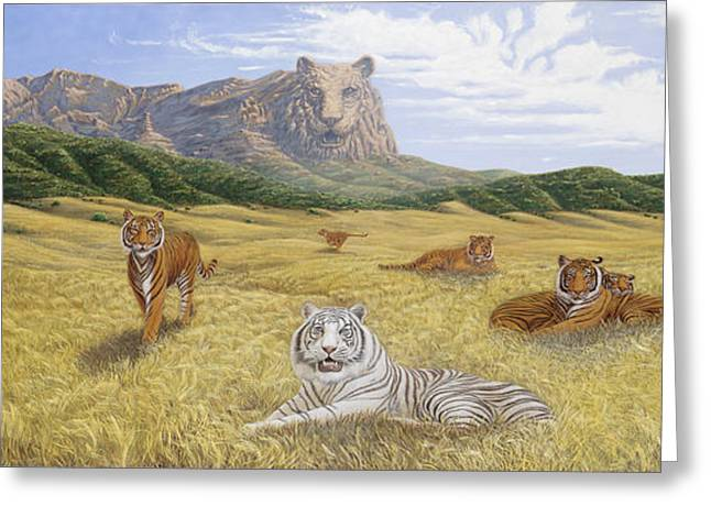 The Tiger Greeting Cards - Pride of the Father Greeting Card by Michael Phillips