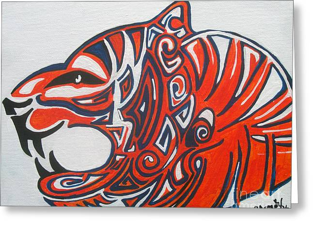 Mascot Paintings Greeting Cards - Pride of the Tiger Greeting Card by Brandy Nicole Clark