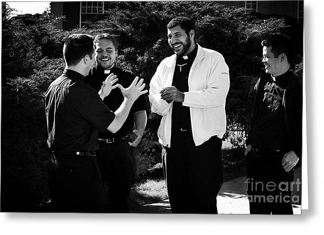 Manhood Greeting Cards - Priest Camaraderie Greeting Card by Frank J Casella