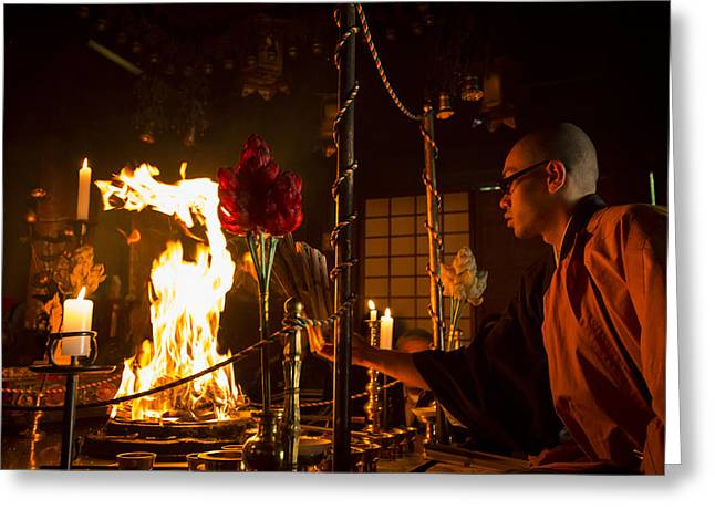 Koya Greeting Cards - Priest celebrating the Goma fire ritual at Ekoin temple Greeting Card by Ruben Vicente
