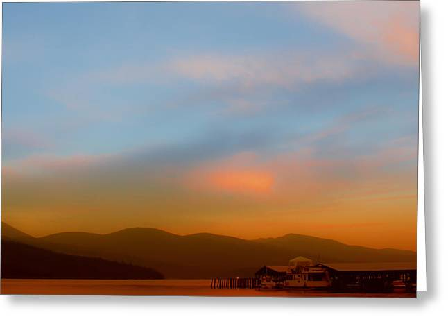 Boathouse Greeting Cards - Priest Lake at Dusk Greeting Card by David Patterson