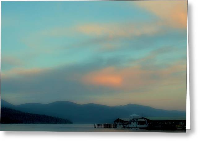 Yellow Sailboats Greeting Cards - Priest Lake at Dusk II Greeting Card by David Patterson