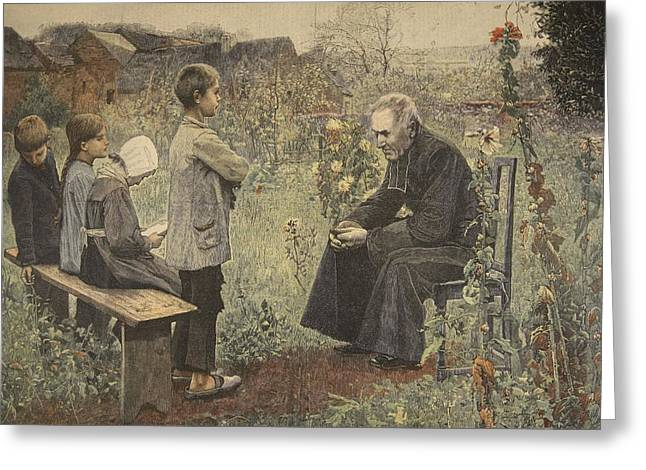 Roman Catholic Greeting Cards - Priest Teaching Children The Catechism Greeting Card by Jules-Alexis Meunier