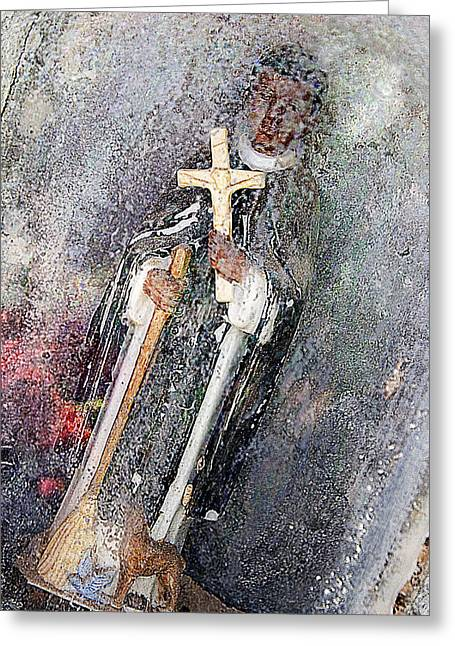 Immaculate Heart Greeting Cards - Priest with Cross and Broom Pecos and Rowe Cemetery New Mexico 2010 Greeting Card by John Hanou