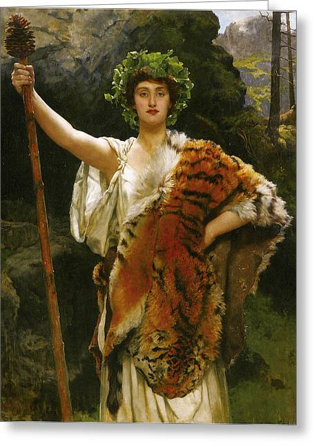 Jesus Christ Images Digital Art Greeting Cards - Priestess Bacchus Greeting Card by John Collier