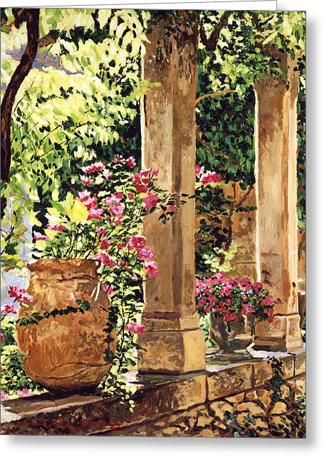 Patio Greeting Cards - Prieure Hotel Gardens Villeneuve Greeting Card by David Lloyd Glover