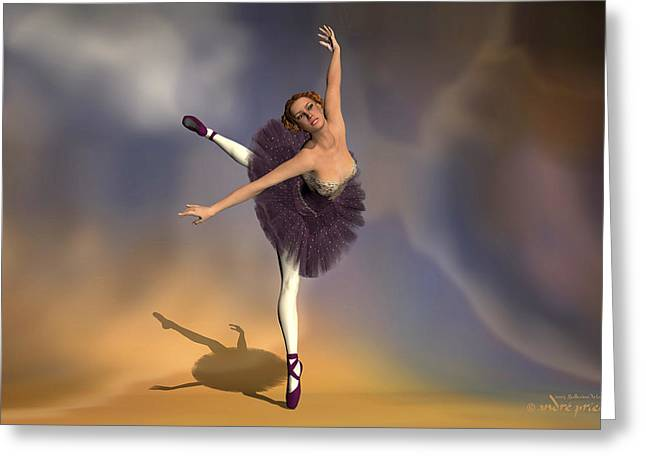 Prima Ballerina Digital Art Greeting Cards - Prima ballerina Georgia Attitude on Pointe pose Greeting Card by Andre Price